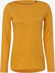 Żółty t-shirt Marc O'Polo z długim rękawem z dekoltem w łódkę z bawełny