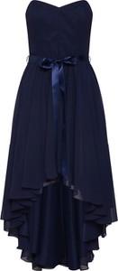 Granatowa sukienka Swing asymetryczna z szyfonu