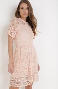 Sukienka born2be z okrągłym dekoltem trapezowa mini