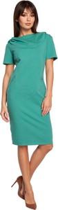 Zielona sukienka Be z krótkim rękawem midi