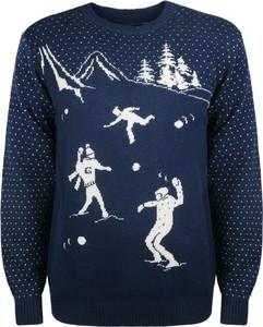 """Niebieski sweter Gant Sweter """"snowball"""" w młodzieżowym stylu z wełny"""