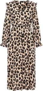 Brązowa sukienka Pieces midi w stylu casual z długim rękawem