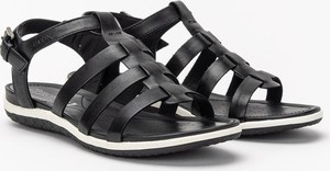 Czarne sandały Geox z klamrami w stylu casual z płaską podeszwą