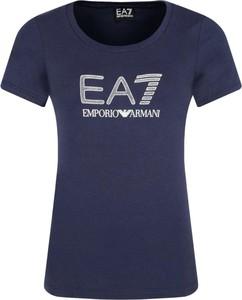 Niebieski t-shirt EA7 Emporio Armani z okrągłym dekoltem