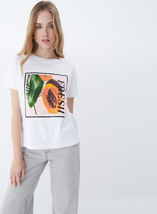 T-shirt Mohito z okrągłym dekoltem w młodzieżowym stylu z nadrukiem