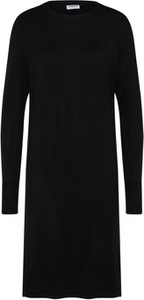 Czarna sukienka Noisy May midi z okrągłym dekoltem