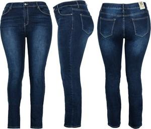 Granatowe jeansy Royalfashion.pl w stylu casual z jeansu