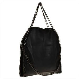Vera pelle efektowna torebka skórzana shopper bag czarna obszyta łańcuszkiem