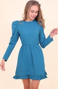Niebieska sukienka Royalfashion.pl trapezowa z okrągłym dekoltem