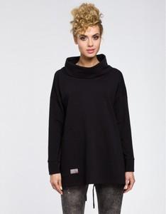 Czarna bluzka MOE z długim rękawem w stylu casual