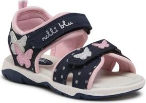 Granatowe buty dziecięce letnie Nelli Blu ze skóry