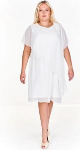 Sukienka Fokus z krótkim rękawem midi z dzianiny