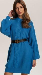 Niebieska tunika Renee z długim rękawem