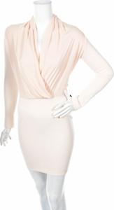 Różowa sukienka Nly One z dekoltem w kształcie litery v mini z długim rękawem