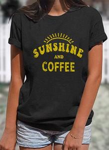 Czarna bluzka Sandbella z okrągłym dekoltem z krótkim rękawem