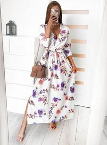 Sukienka Pakuten z długim rękawem maxi w stylu boho