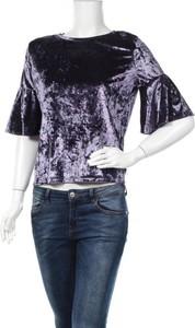 Fioletowa bluzka Ghospell z okrągłym dekoltem