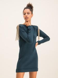 Niebieska sukienka Patrizia Pepe z długim rękawem w stylu casual