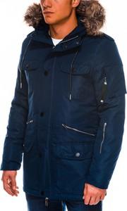 Granatowa kurtka Ombre_Premium w stylu casual