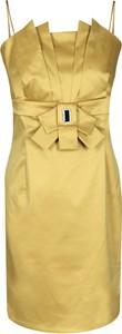 Żółta sukienka Fokus z długim rękawem midi