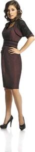 Brązowa sukienka Fokus z krótkim rękawem dopasowana midi