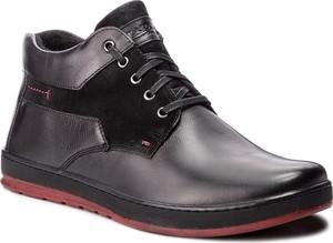 Granatowe buty zimowe Lasocki For Men w stylu casual sznurowane