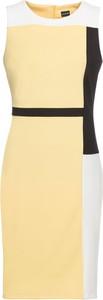 Żółta sukienka bonprix BODYFLIRT z dzianiny mini ołówkowa