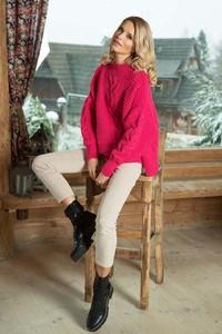 Różowy sweter Fobya z wełny