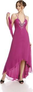 Sukienka Fokus z dekoltem w kształcie litery v w stylu glamour midi