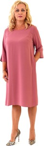 Sukienka Roxana - sukienki z długim rękawem z okrągłym dekoltem midi