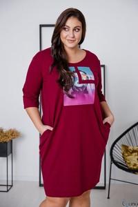 Sukienka tono.sklep.pl z długim rękawem z okrągłym dekoltem