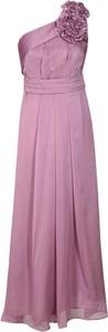 Fioletowa sukienka Fokus maxi z asymetrycznym dekoltem