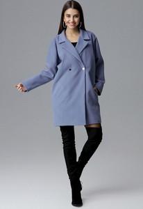 Niebieski płaszcz Figl w stylu casual z tkaniny
