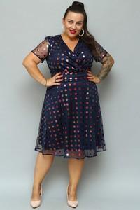 Sukienka KARKO midi z krótkim rękawem z dekoltem w kształcie litery v