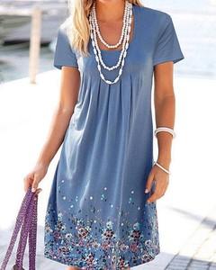 Sukienka Kendallme trapezowa z krótkim rękawem z dekoltem w kształcie litery v