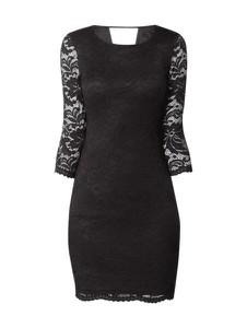 Czarna sukienka Vero Moda z długim rękawem z okrągłym dekoltem midi