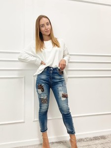 Granatowe jeansy Paris w stylu casual z jeansu