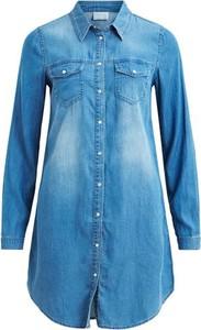Sukienka vila z jeansu z długim rękawem