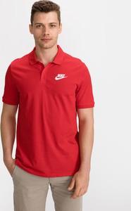 Czerwona koszulka polo Nike z krótkim rękawem z bawełny w sportowym stylu