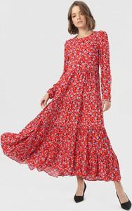 Sukienka born2be maxi z długim rękawem z okrągłym dekoltem