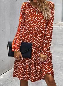 Czerwona sukienka Cikelly mini z długim rękawem