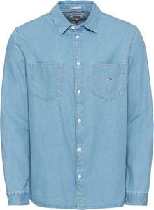 Niebieska koszula Tommy Jeans w stylu casual z włoskim kołnierzykiem z długim rękawem