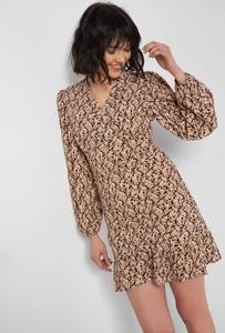 Brązowa sukienka ORSAY z długim rękawem mini z tkaniny