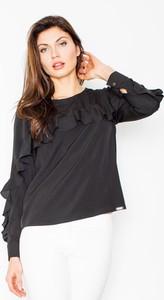 Czarna bluzka Figl z okrągłym dekoltem z długim rękawem