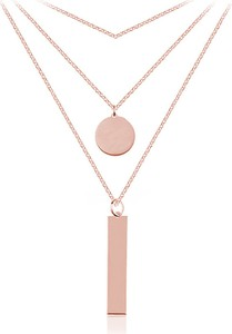 Lian Art Srebrny naszyjnik potrójny z kółeczkiem i prostokątem - kaskadowy - 2MR Rose Gold