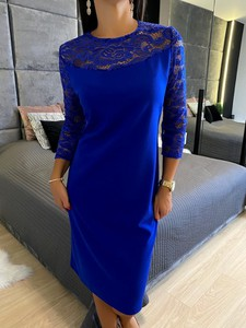 Niebieska sukienka ModnaKiecka.pl z długim rękawem mini prosta