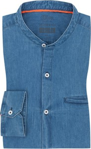 Niebieska koszula S.Oliver z jeansu z długim rękawem ze stójką
