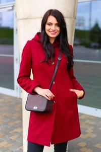 Czerwony płaszcz butik-choice.pl z wełny