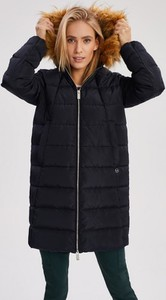 Granatowa kurtka Diverse długa w stylu casual