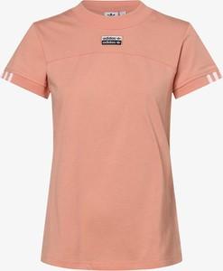 Różowy t-shirt Adidas Originals w sportowym stylu z bawełny